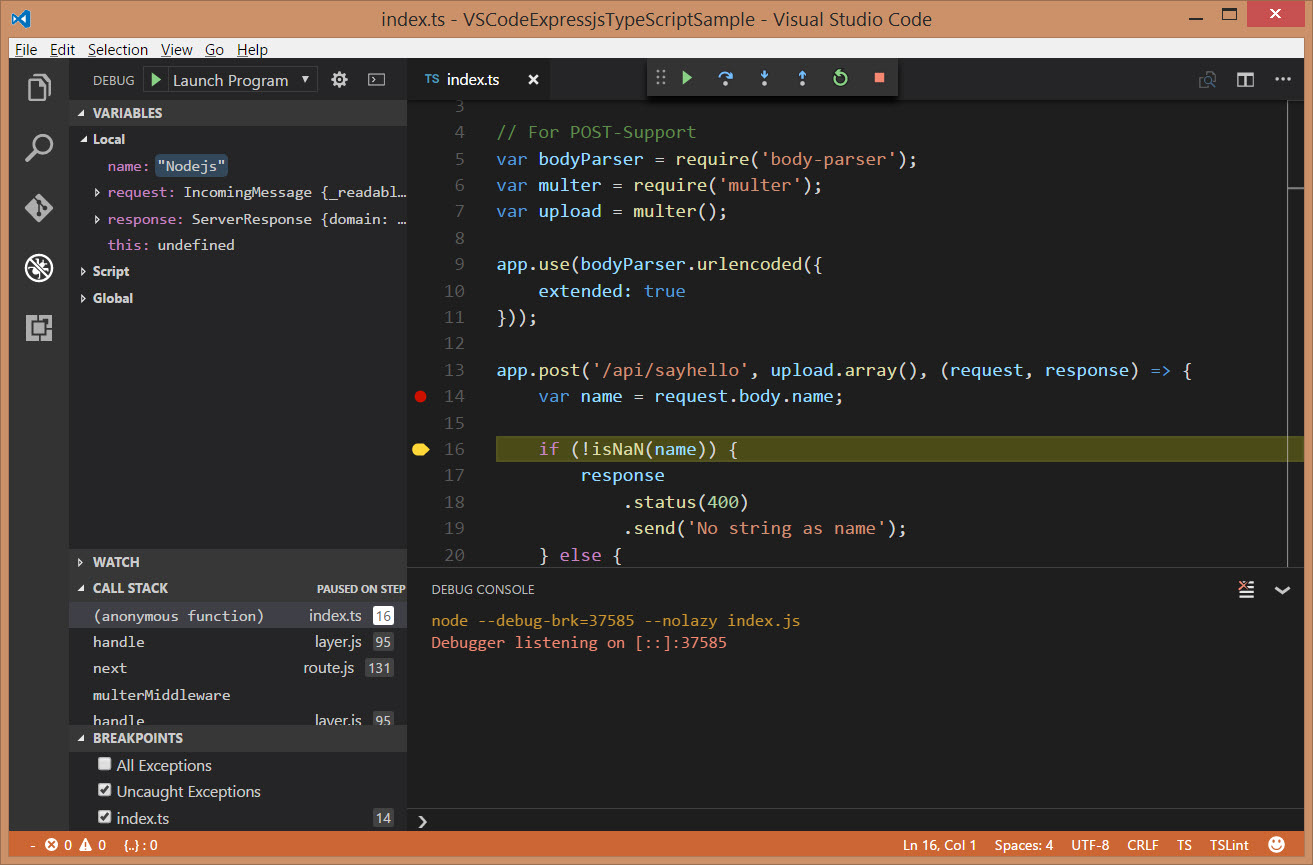 Post-Anfrage mit Visual Studio Code debuggen
